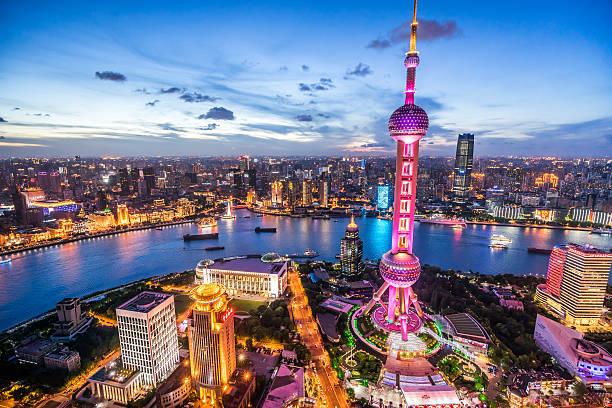 Shanghai Skyline at Dusk:スマホ壁紙(壁紙.com)