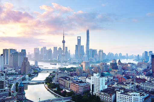Atmospheric Mood「Shanghai Skyline in Blue Sky at Morning」:スマホ壁紙(0)