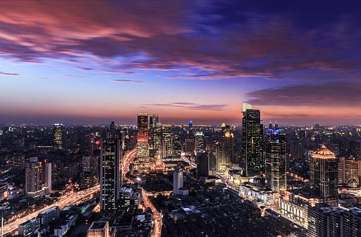 Shanghai「Shanghai Skyline at sunset」:スマホ壁紙(18)