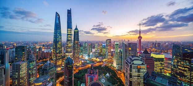 金融街「上海のスカイラインの夕日」:スマホ壁紙(12)