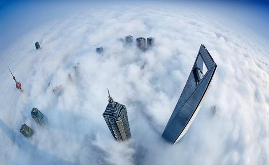 Shanghai「Shanghai Skyline in Sea of Clouds」:スマホ壁紙(12)