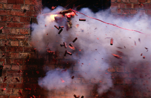 Destruction「Firecrackers explode during celebrations for Chinese New Year in Chinatown, Melbourne,Victoria,Australia,Australasia」:スマホ壁紙(15)