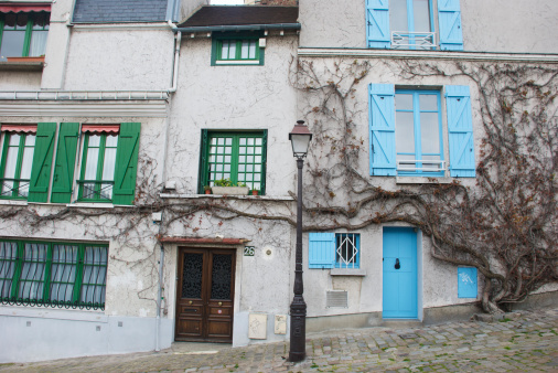 Famous Place「Old houses and lamp post on cobbled street in Montmartre.」:スマホ壁紙(0)