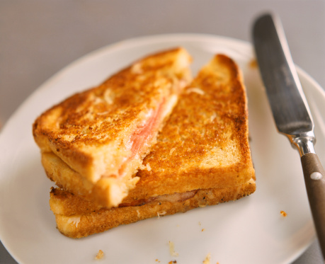 Toasted Food「Toasted Ham and Cheese Sandwich on a Plate」:スマホ壁紙(18)