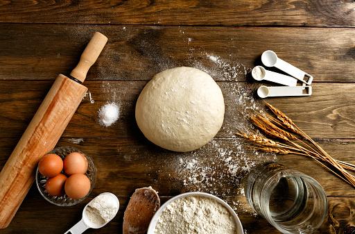 Loaf of Bread「Artisanal Bakery: Dough making ingredients and utensils」:スマホ壁紙(0)