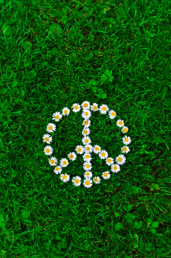 Music Festival「White daisies, laying on the grass forming a peace sign symbol」:スマホ壁紙(14)