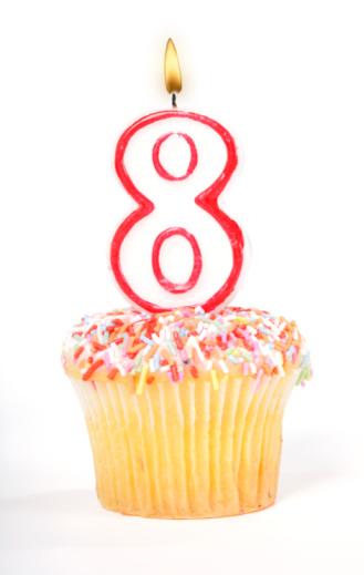 数字の8「Cupcake Number Candle」:スマホ壁紙(6)