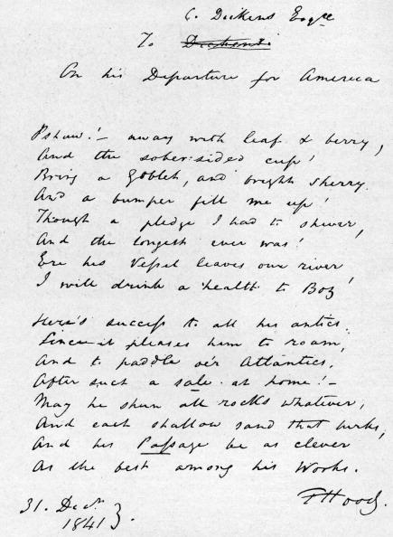 Writing「Thomas Hood's verses to Charles Dickens」:写真・画像(0)[壁紙.com]