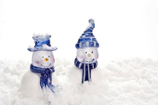 雪だるま「ブルー雪だるま」:スマホ壁紙(14)