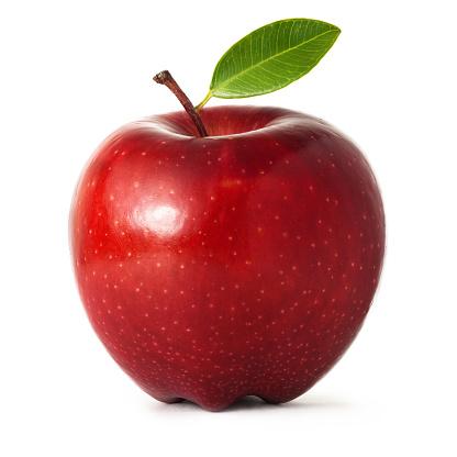 Apple「レッドアップル、リーフ白背景」:スマホ壁紙(0)
