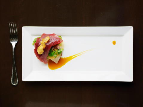 Plate「Big eye tuna tartare with crenshaw melon, brioche, orange reduction, mache and garlic chips」:スマホ壁紙(15)