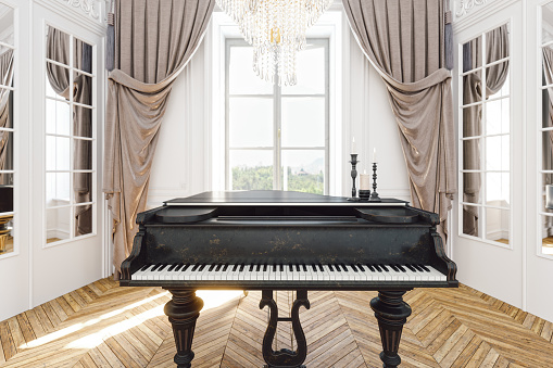 Baroque Style「Vintage Grand Piano In The Baroque Style Room」:スマホ壁紙(10)