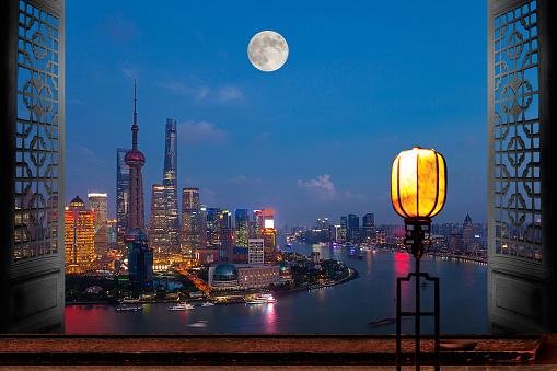 Desk Lamp「Shanghai urban construction at night」:スマホ壁紙(10)