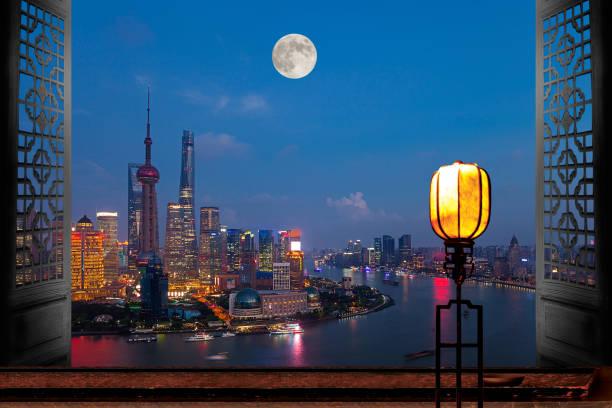Shanghai urban construction at night:スマホ壁紙(壁紙.com)