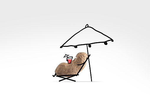 Cartoon「A cute peanut with illustrated facial features relaxes under the sun with a drink in hand」:スマホ壁紙(10)