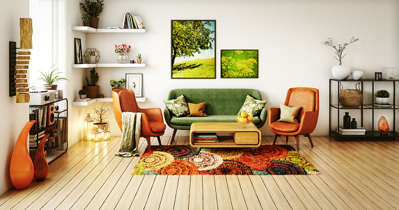 Orange Color「70s Style Living Room」:スマホ壁紙(3)