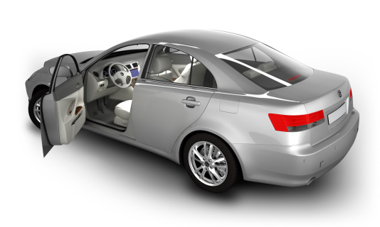 Silver Colored「Car in studio - isolated on white with clipping path」:スマホ壁紙(7)
