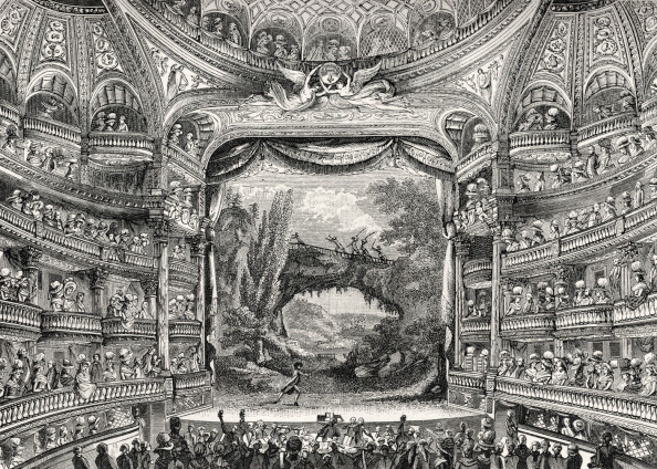 18th Century Style「History of theater: The Variétés Amusantes theatre in Paris (now the Théâtre-Francais), 1789.  Grand interior, fashionable gentlemen and ladies in audience.  Orchestra in pit. Tiers of boxes..」:写真・画像(14)[壁紙.com]