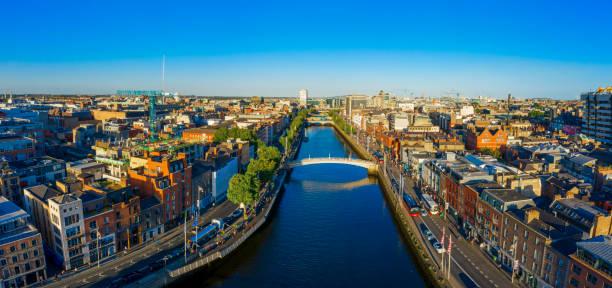 Dublin Ireland with Liffey river aerial view:スマホ壁紙(壁紙.com)
