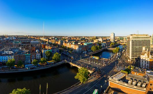 Liffey River - Ireland「Dublin Ireland with Liffey river aerial view」:スマホ壁紙(2)