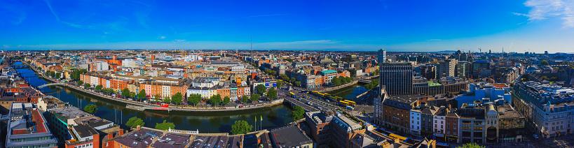 Liffey River - Ireland「Dublin Ireland with Liffey river aerial view」:スマホ壁紙(7)