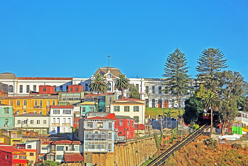Aerial tramway「Colourful houses and funicular near port, Valparaiso, Chile.」:スマホ壁紙(5)