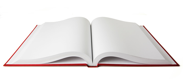 Page「Open red book with blank white pages on a white background」:スマホ壁紙(19)