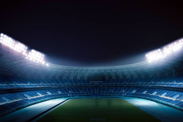 View of empty stadium at night:スマホ壁紙(壁紙.com)