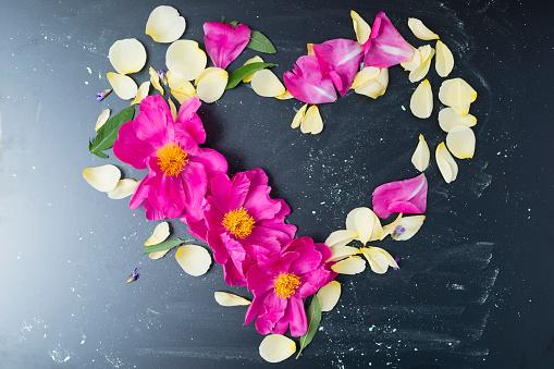 ハート「Peony and rose petals in heart shape」:スマホ壁紙(1)