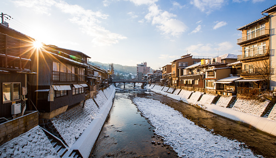 Town Square「Village snow sunrise at Takayama with red wooden bridge and stream water, Japan」:スマホ壁紙(10)