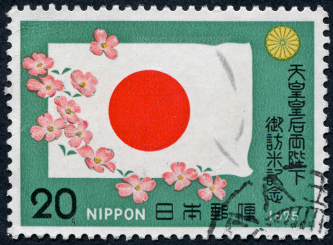 Cherry Blossoms「Cherry Blossoms And Japanese Flag Stamp」:スマホ壁紙(1)