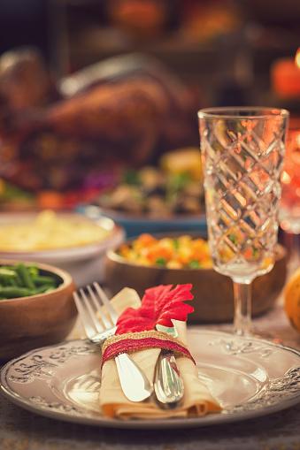 Stuffed Turkey「Festive Place Setting with Autumn Decorations」:スマホ壁紙(9)