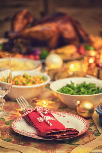 Stuffed Turkey「Festive Place Setting with Christmas Decorations」:スマホ壁紙(5)
