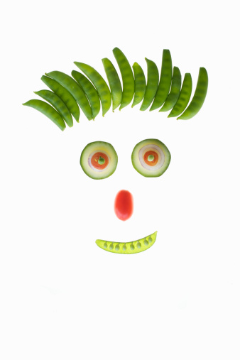 Human Face「Cucumber, tomato and peas making up face」:スマホ壁紙(19)