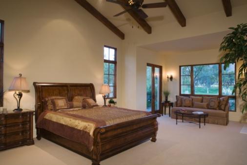 Ceiling Fan「Sleigh bed in Palm Springs home」:スマホ壁紙(16)