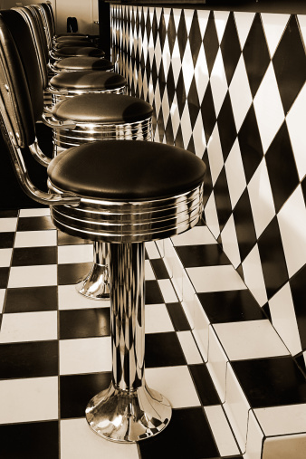 Diamond Shaped「Bar Stools in Vintage Retro Diner, Toned」:スマホ壁紙(18)