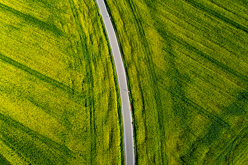 Country Road「Road through agricultural fields from above」:スマホ壁紙(11)