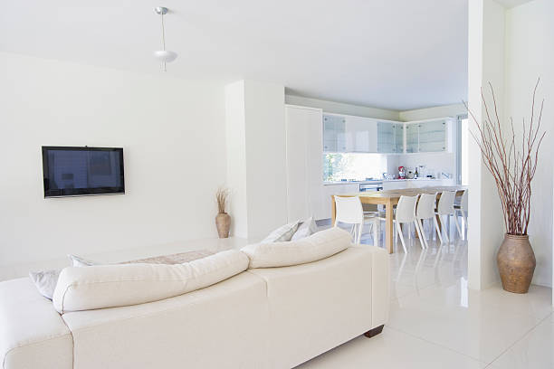 Dining room and living room of modern home:スマホ壁紙(壁紙.com)