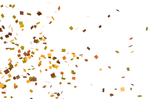 Blurred Motion「Autumn Colored Confetti Falling, Isolated on White」:スマホ壁紙(13)
