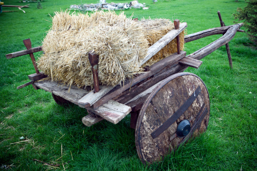 Horse「Bale of Hay on a wooden cart」:スマホ壁紙(13)