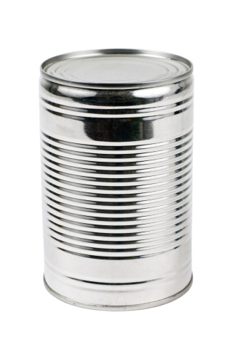 Silver Colored「Unlabelled tin can on a white background」:スマホ壁紙(2)