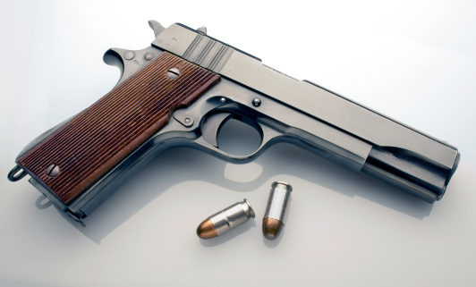 Semi-Automatic Pistol「45 automatic pistol profile with bullets」:スマホ壁紙(17)