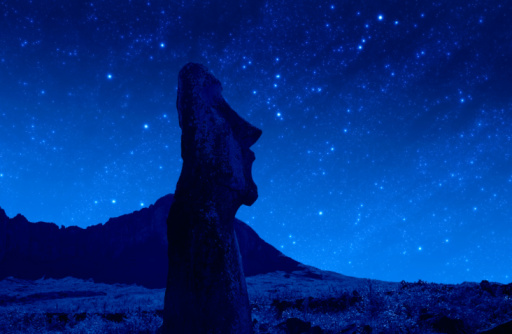 Ancient Civilization「Chile, Easter Island, Moai statues at night」:スマホ壁紙(6)