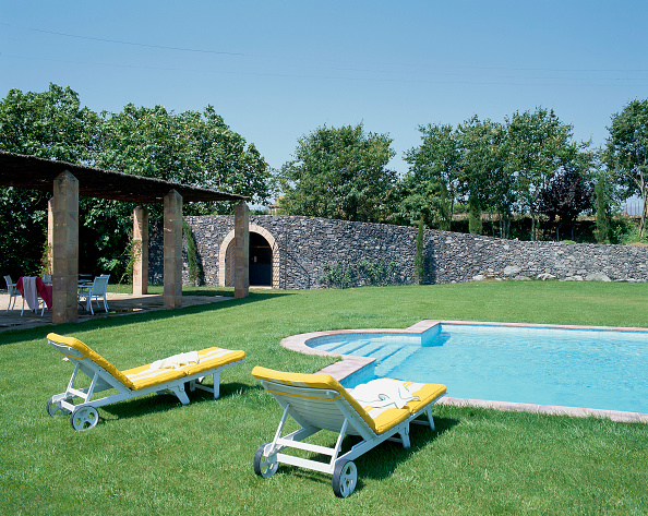 Grass「View of a clean swimming pool amidst a lawn」:写真・画像(0)[壁紙.com]