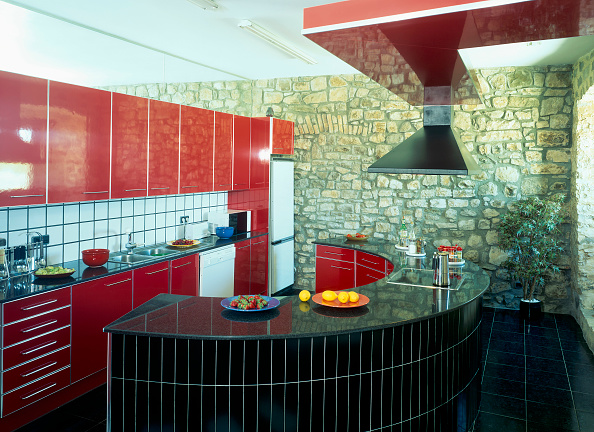 Multi Colored「View of a curved counter in a kitchen」:写真・画像(9)[壁紙.com]