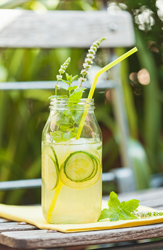 Drinking Straw「Glass of ice-cooled homemade lime cucumber lemonade with mint leaves」:スマホ壁紙(10)