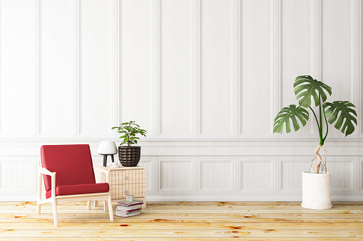 Wood Paneling「White Interior with Armchair」:スマホ壁紙(2)