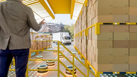 テクノロジー「現代の物流倉庫の自動化されたロボット キャリア」:スマホ壁紙(19)
