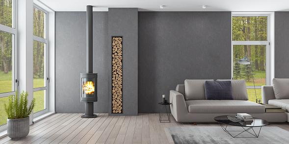 City Life「Luxury Scandinavian living room with eco fireplace」:スマホ壁紙(18)