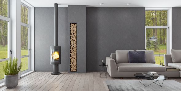 Black Color「Luxury Scandinavian living room with eco fireplace」:スマホ壁紙(11)